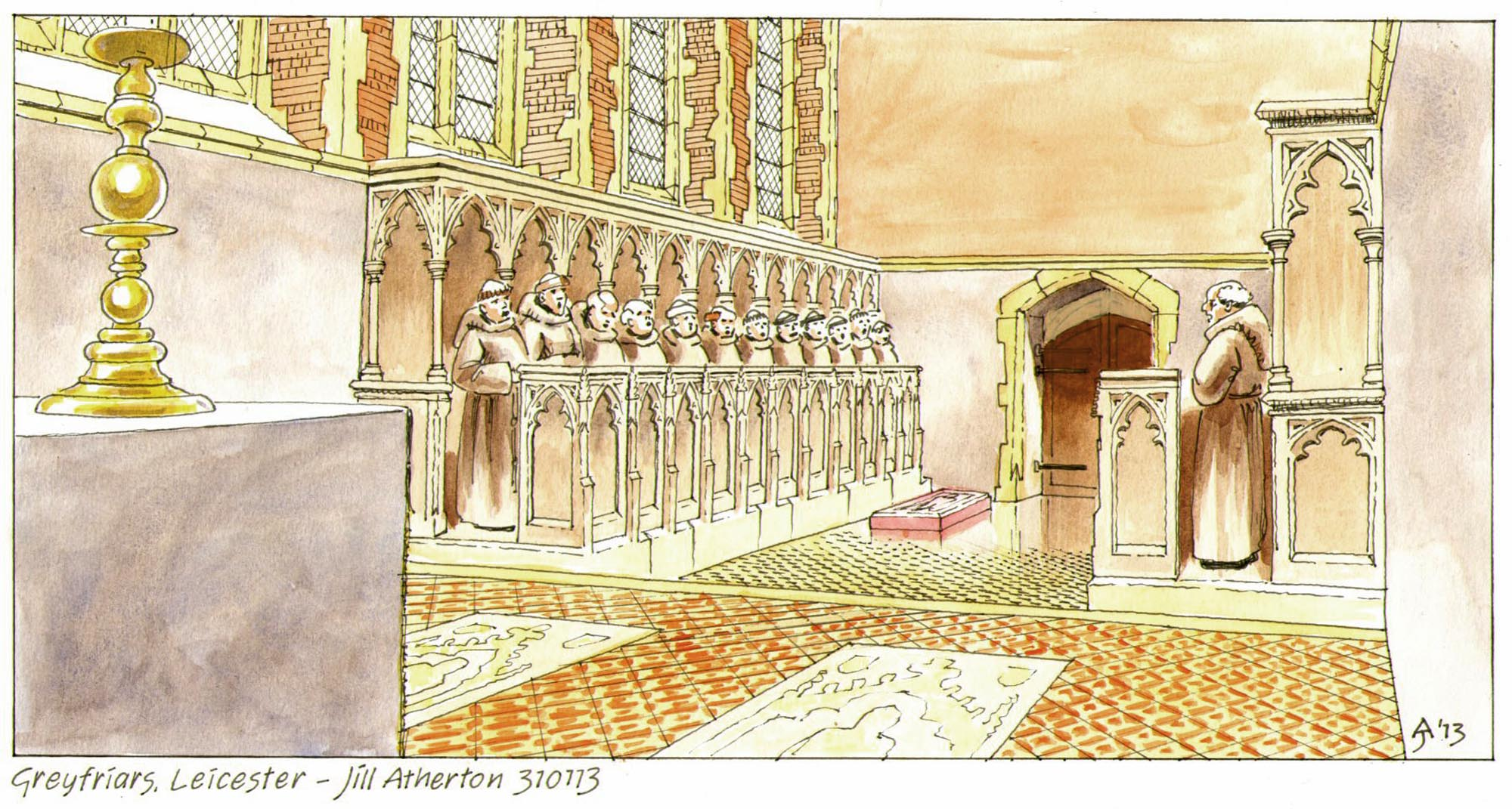 An artist's reconstruction of the choir of the Grey Friars church looking west, showing the arrangement of the choir and presbytery and the alabaster slab laid over the burial place of Richard III - Jill Atherton / University of Leicester Archaeological Services