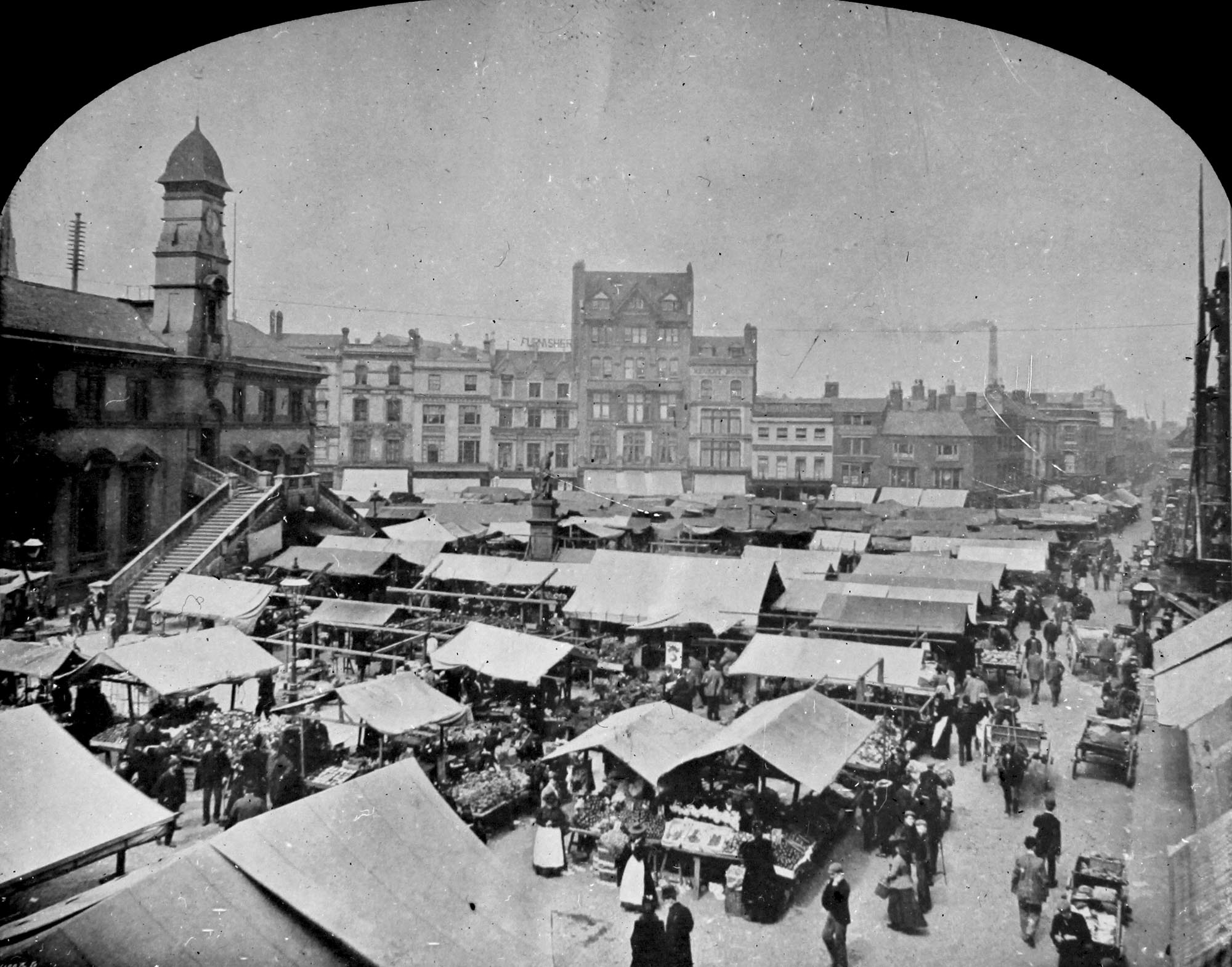 Looking across a busy day at Leicester Market, pre 1900 - Leicestershire Record Office