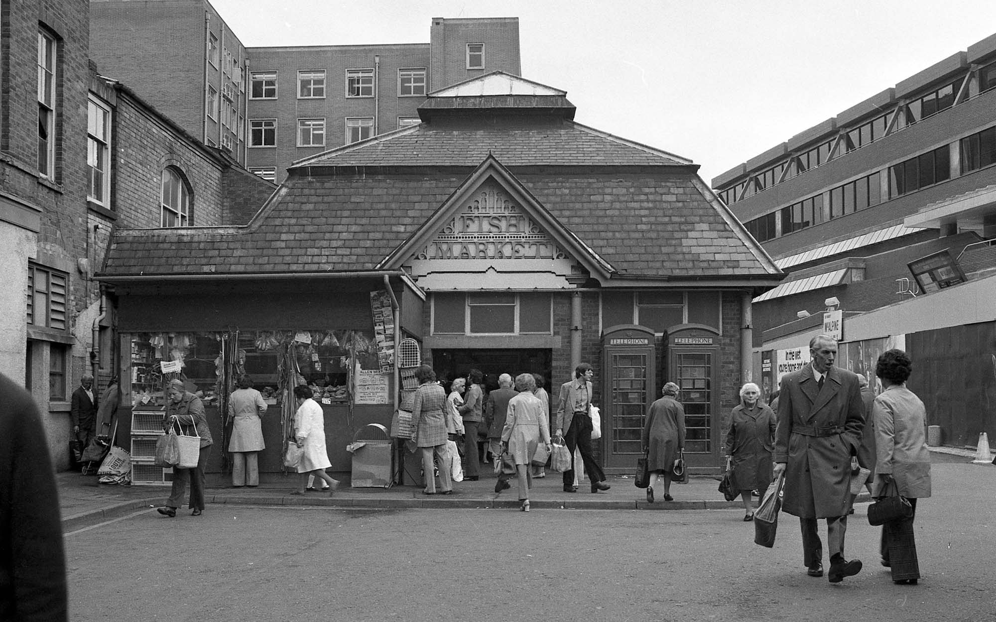 The old Fish Market before it was tuned into various shop units, 1975 -
