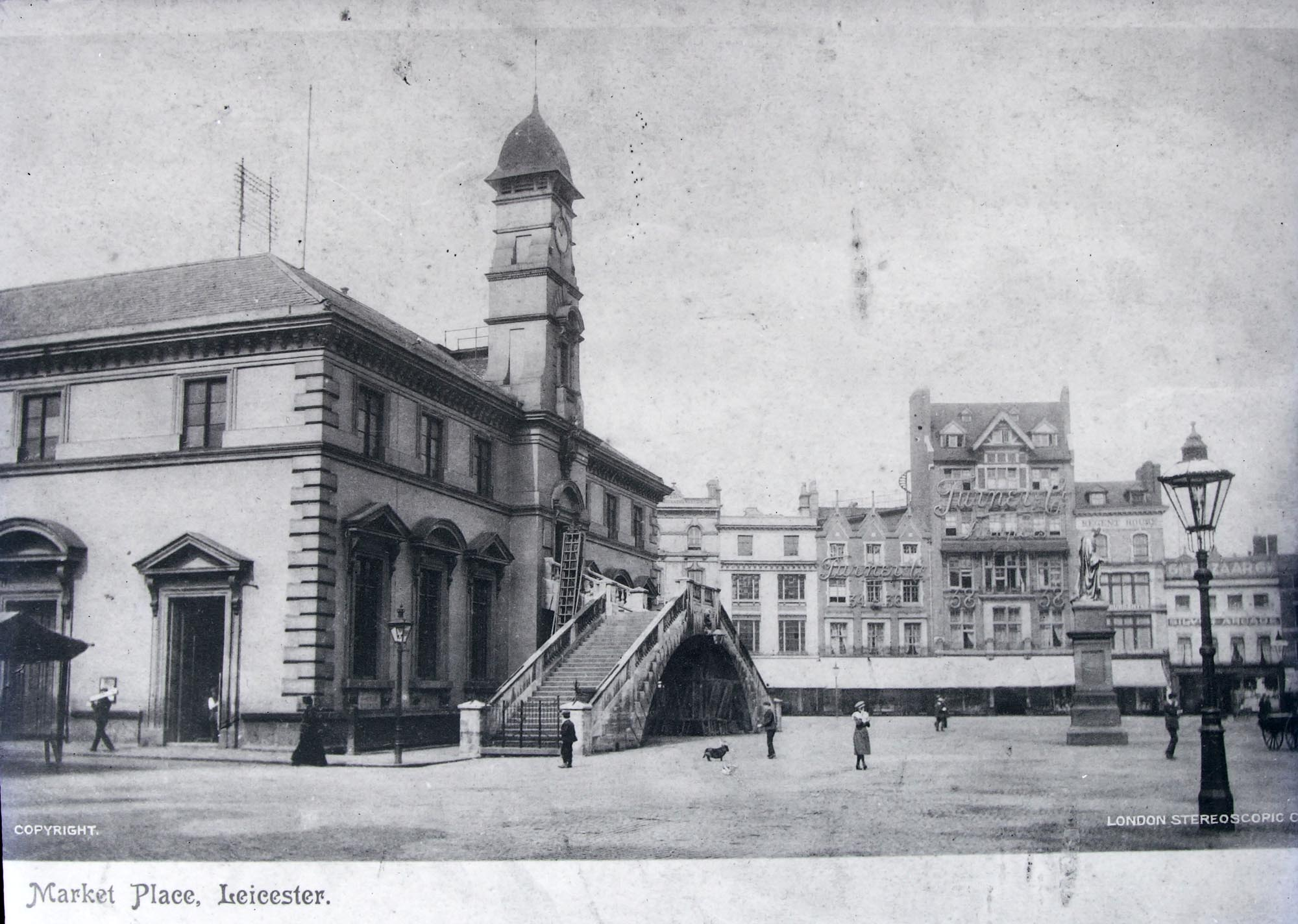 Leicester market before it had permanent covered stalls, circa 1900 - Leicestershire Record Office