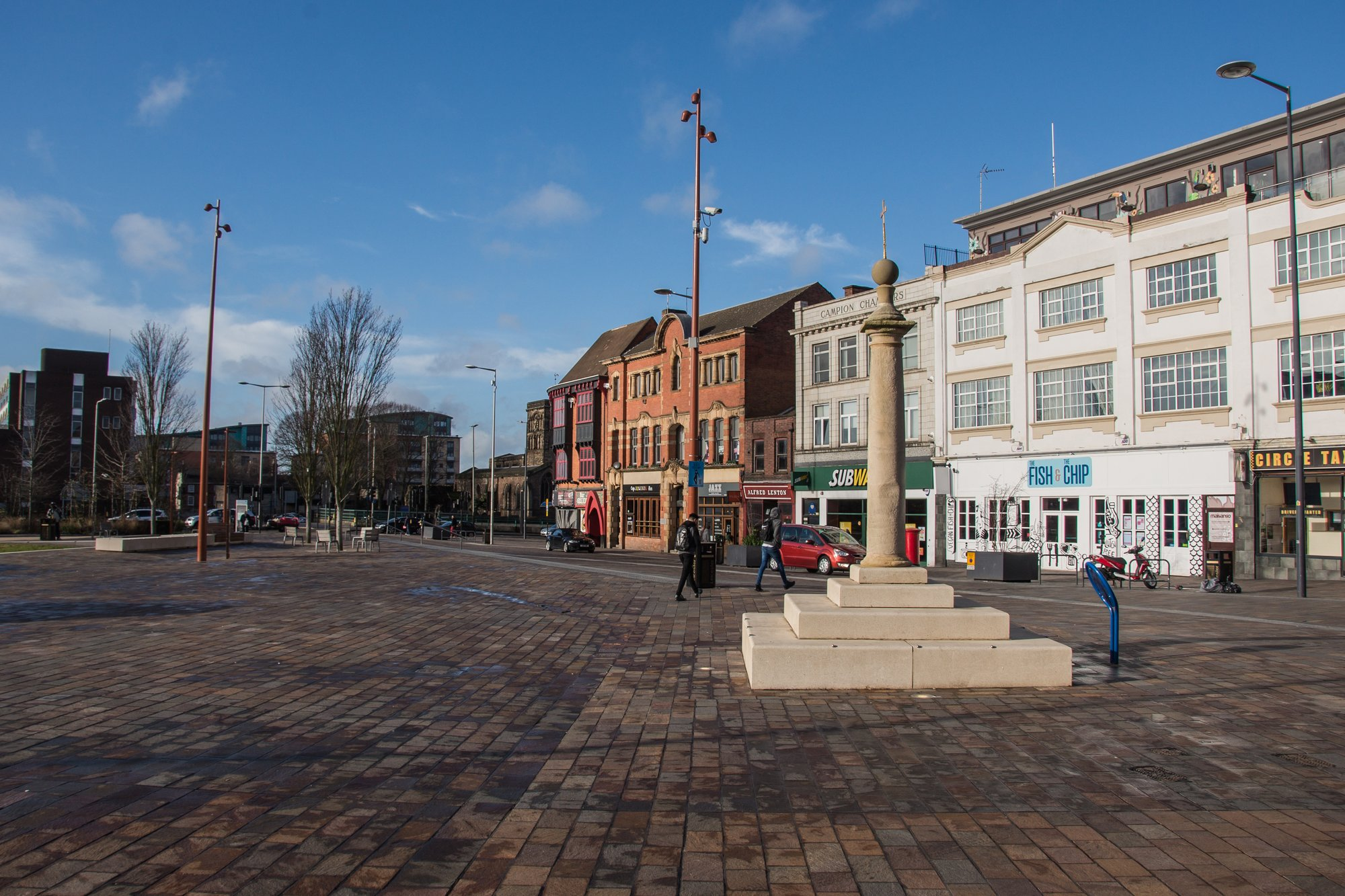 The remaining High Cross pillar as it looks today in Jubilee Square -