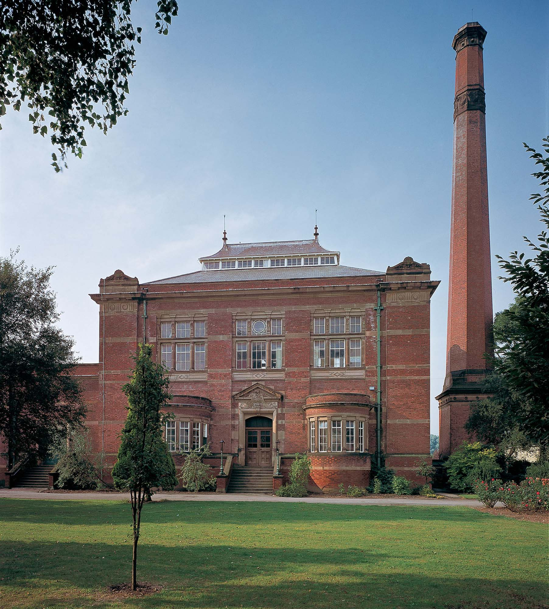 A view of the magnificent Victorian building and chimney -