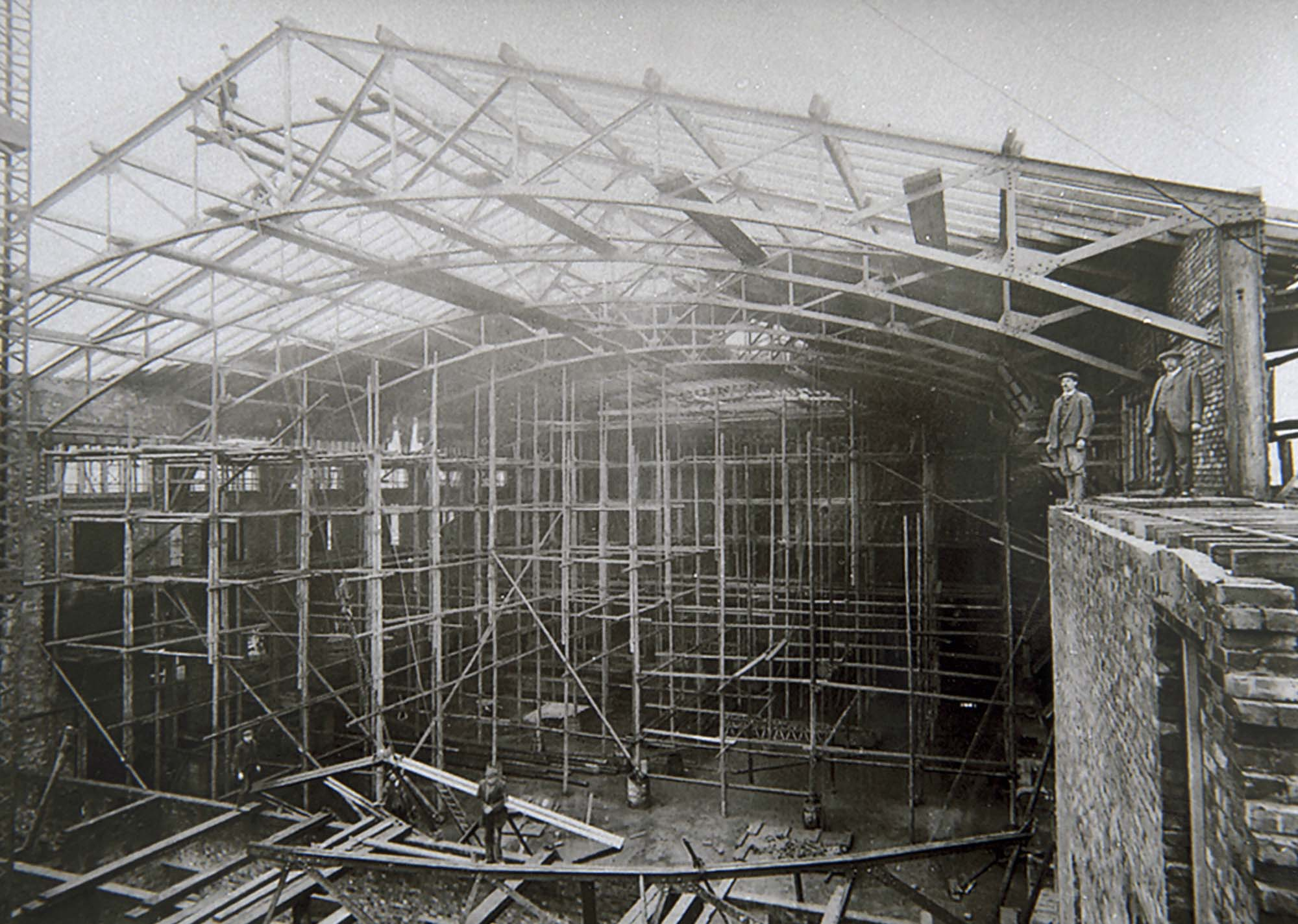 The Hall during construction during 1912 - Leicestershire Record Office