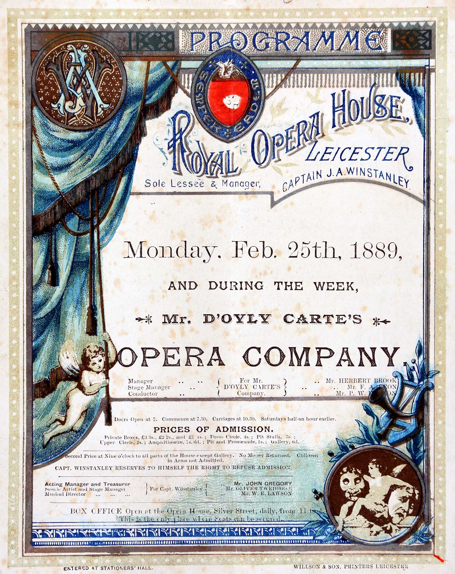 An 1889 advert for a performance at the Royal Opera House - Leicestershire Record Office