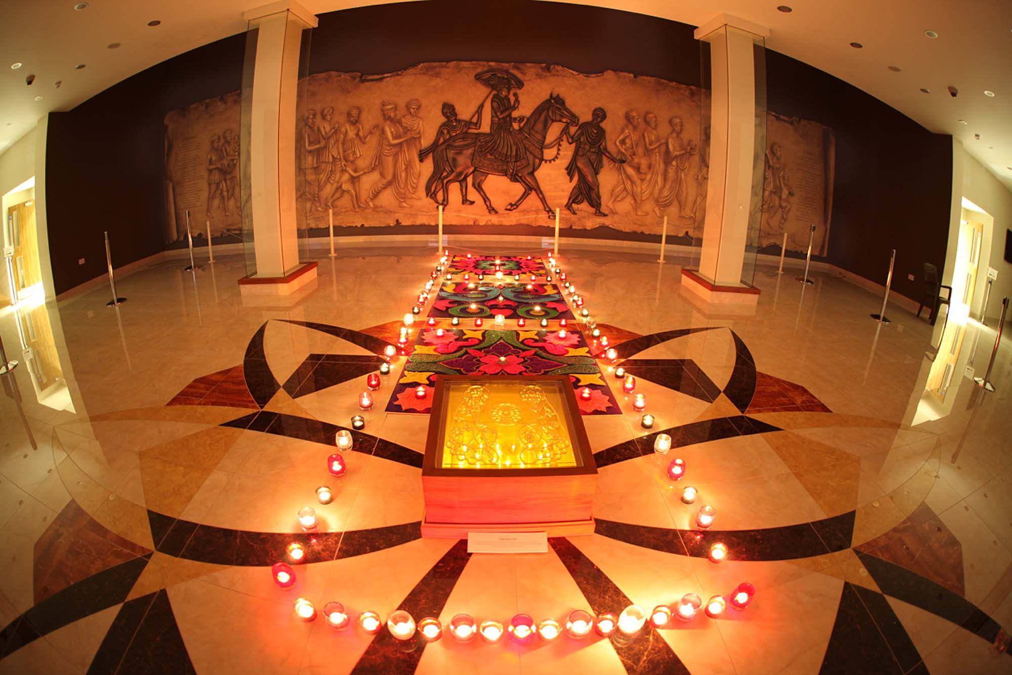 The mandir entrance hall during Diwali celebrations - BAPS Mandir