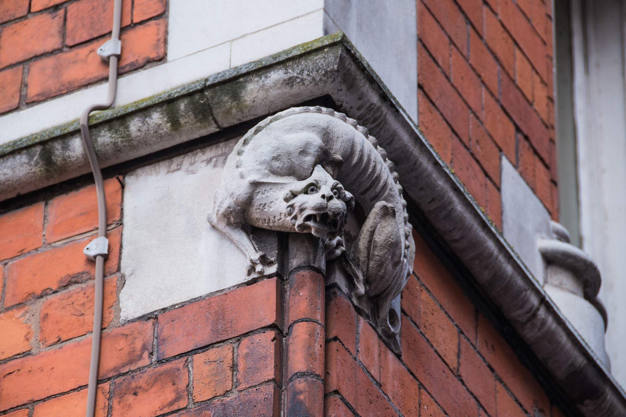 Detail of stone carvings on the building -