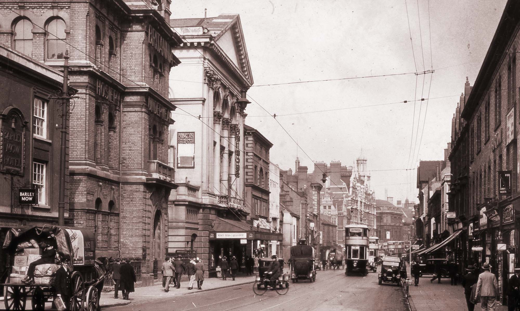 Granby Street with the Temperance Hall on the left, 1920s -