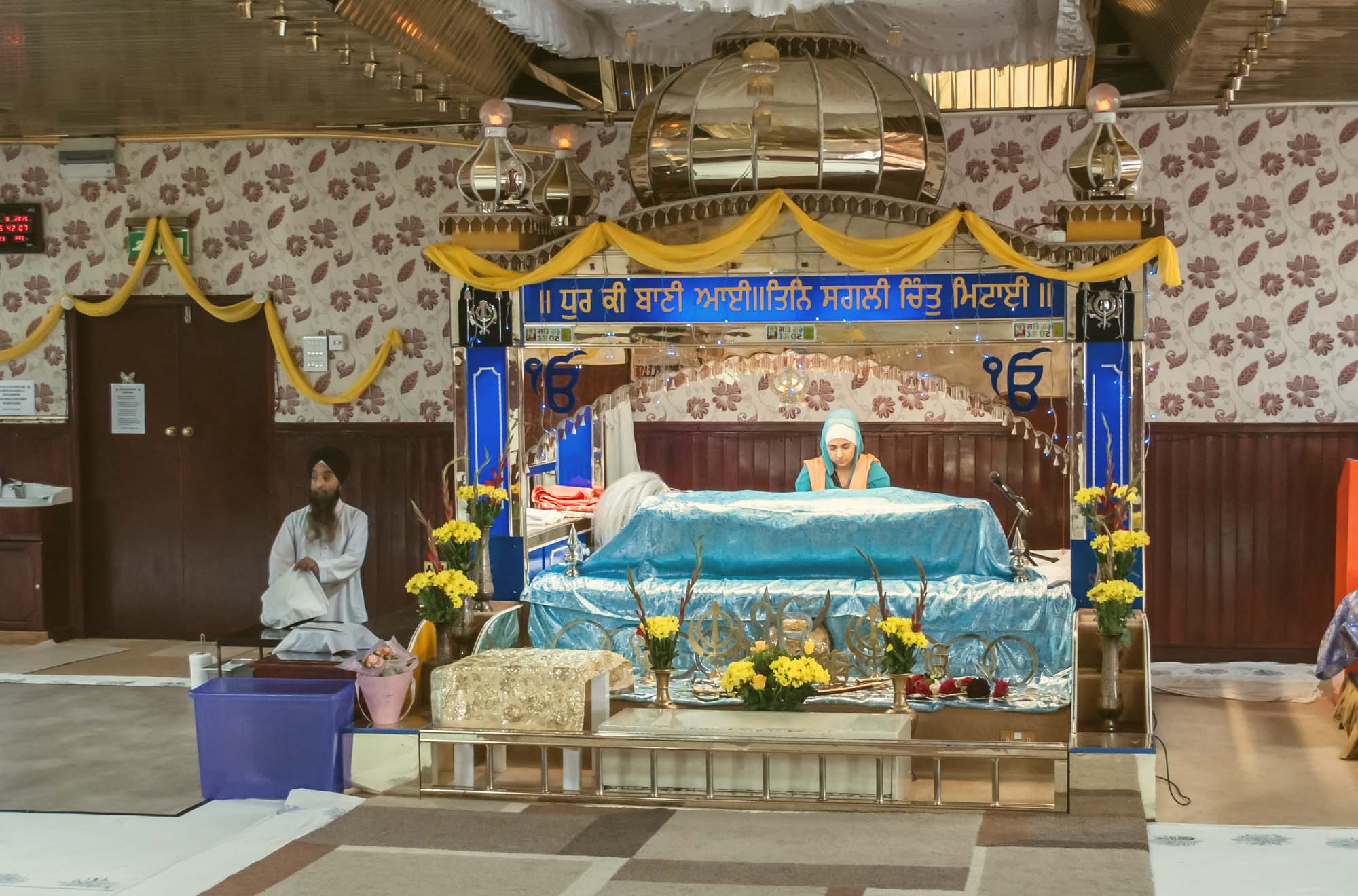 Inside the Guru Nanak Gurdwara, Leicester. Places of worship play a central role in many of the communities in the city -