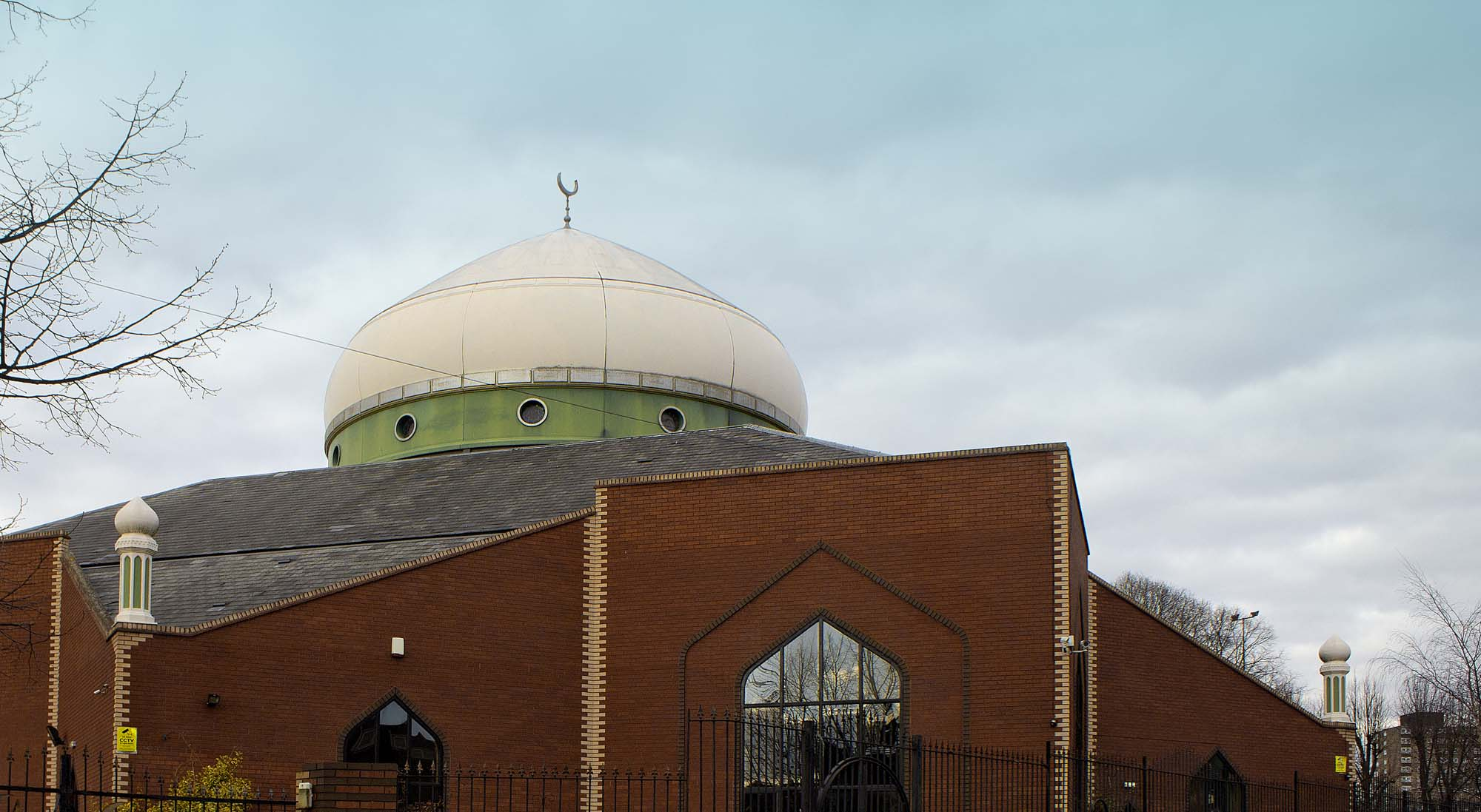 The beautiful dome of the Islamic Centre Leicester. The city is home to a wide variety of places of worship for many faiths -