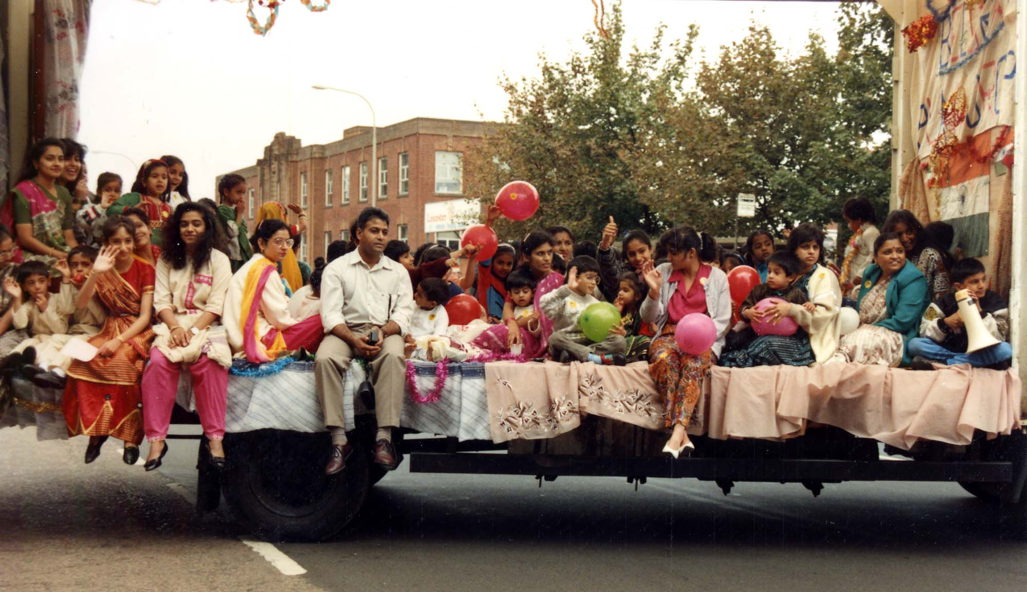 The Belgrave Neighbourhood Playgroup on a float in the Leicester Mela parade, early 1990s. -