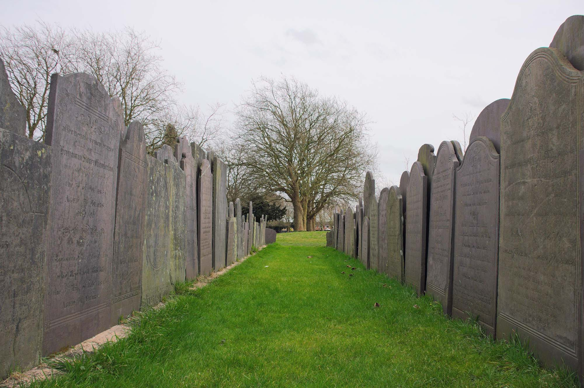 Memorial stones were relocated to Saffron Hill Cemetery during works to the Leicester Cathedral grounds in the early 2000s -