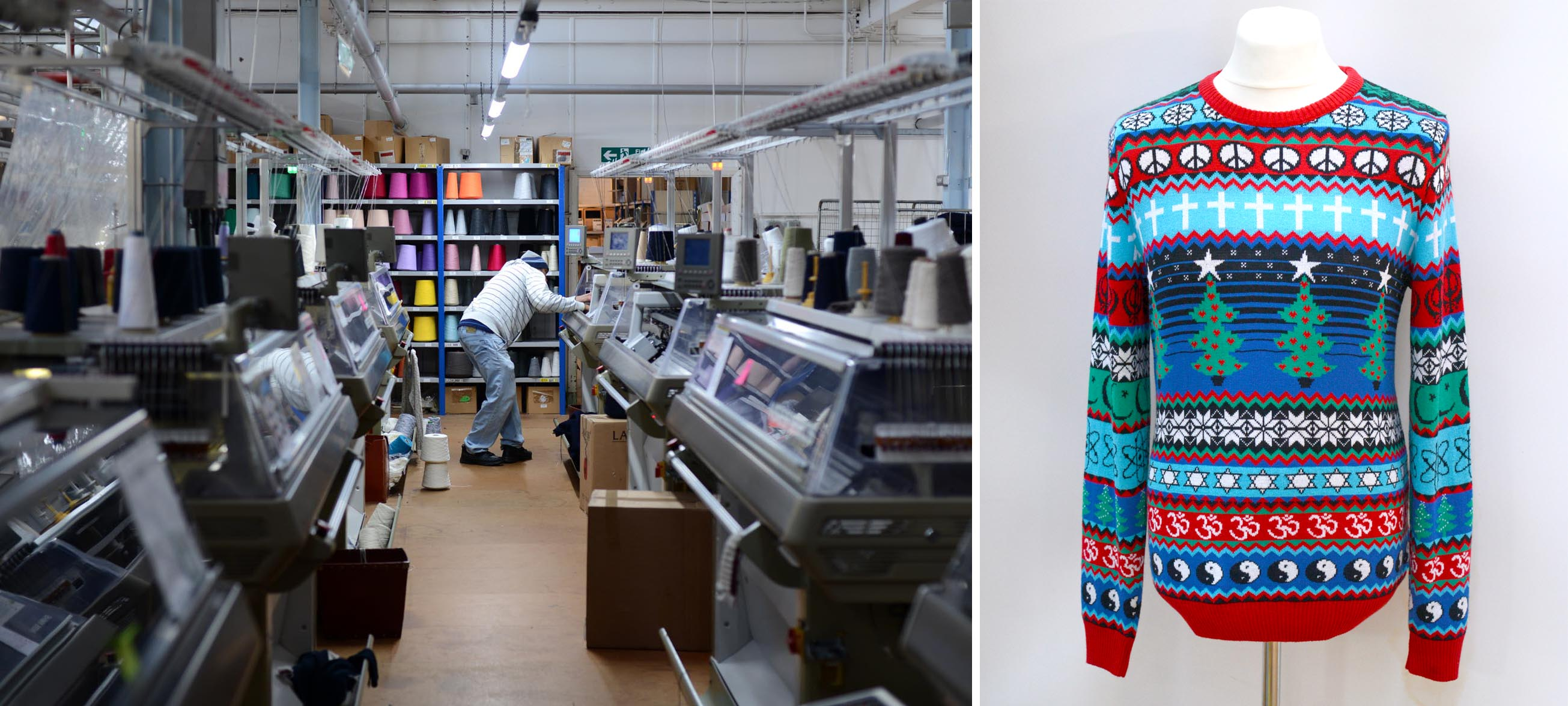 The 'Multi-faith Christmas Jumper' and Jack Masters factory floor -