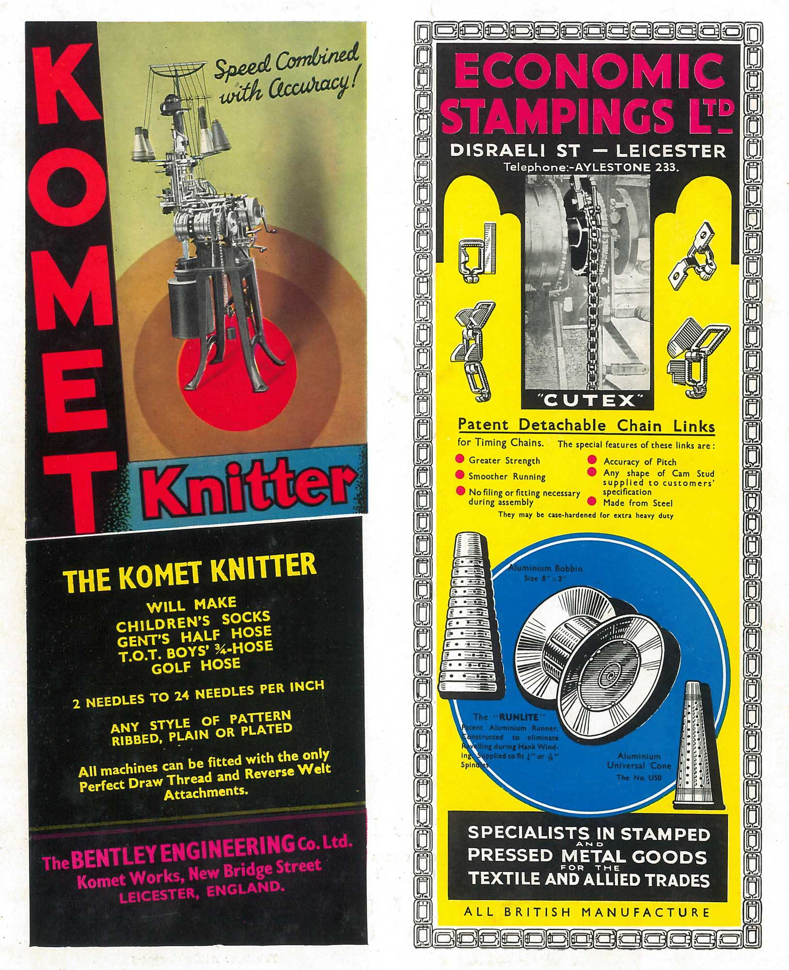 1938 adverts for Leicester based engineering companies, including a Komet knitting machine -