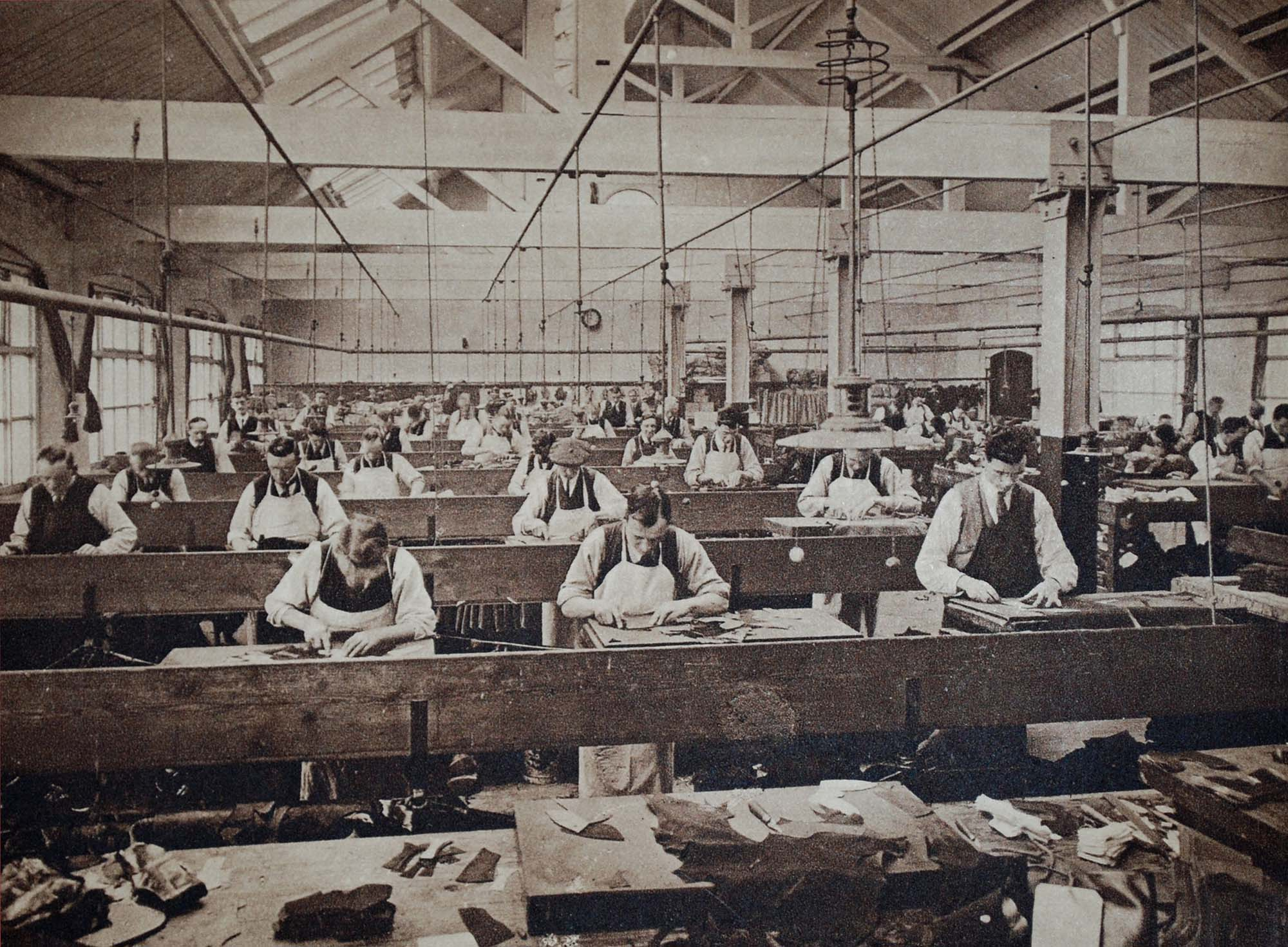 The factory floor of a shoe manufacturing company in Leicester, 1930s -