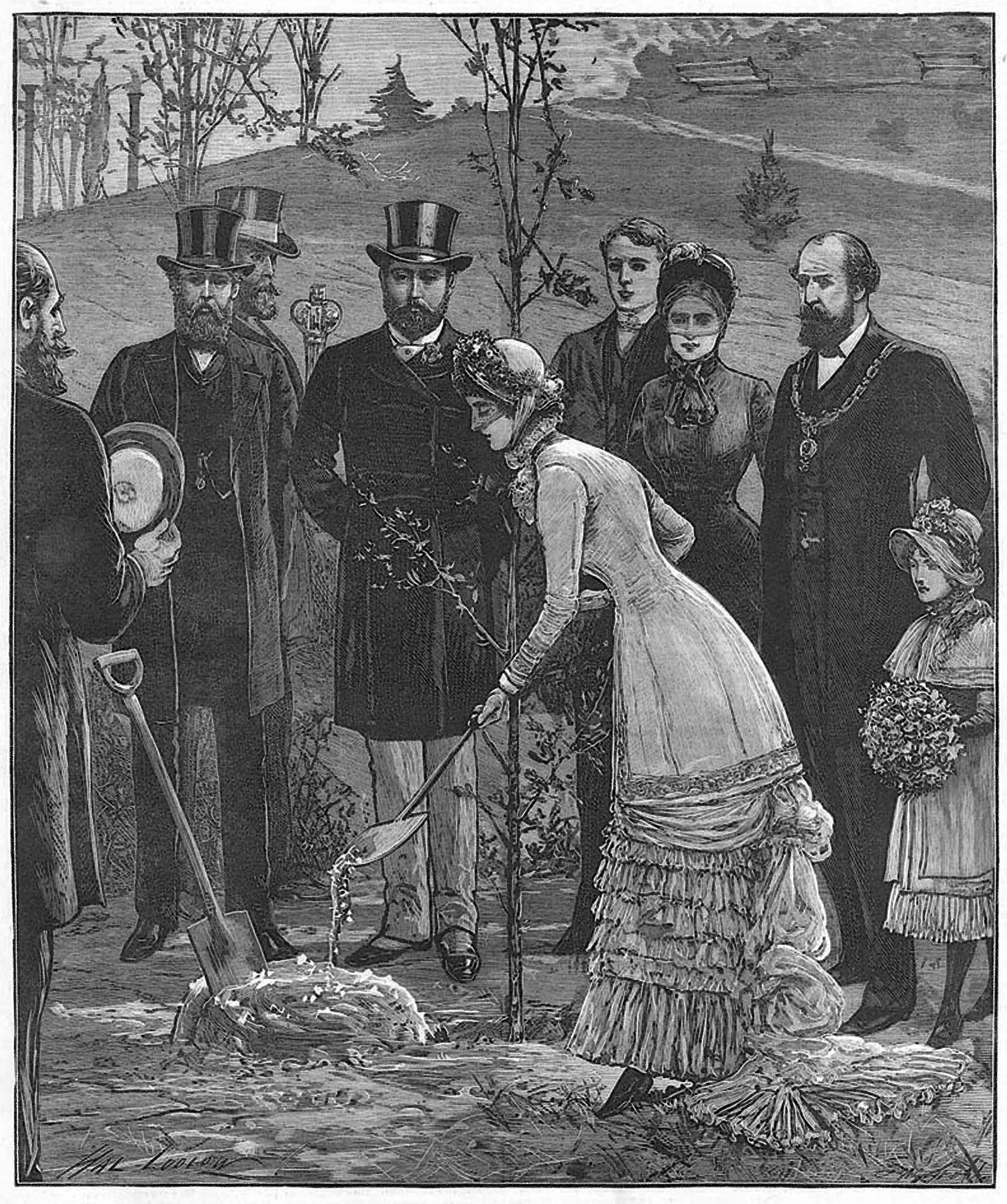 An engraving depicting the planting an oak tree in Abbey Park during the royal visit to Leicester, 1882 -