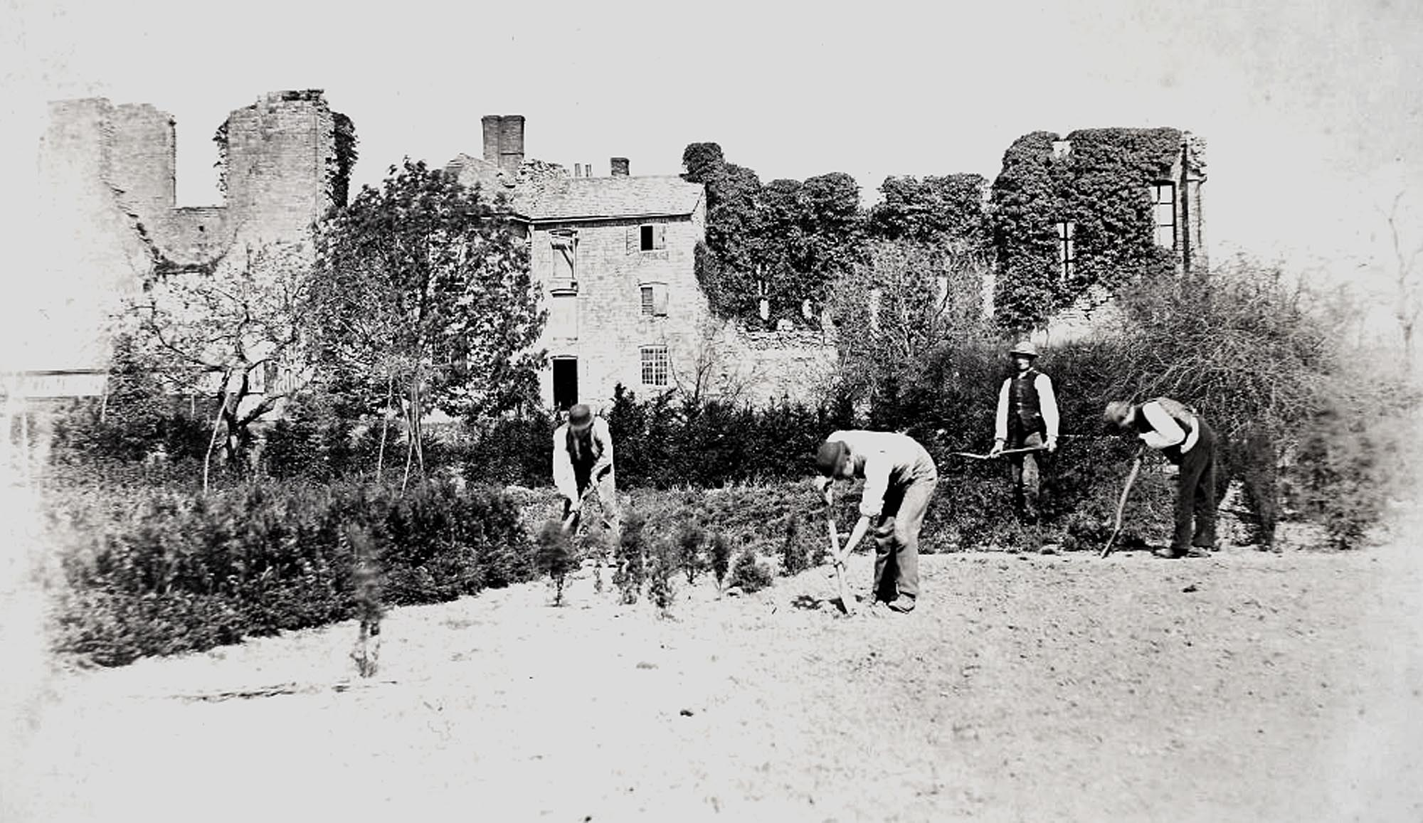 Gardeners working near the Cavendish House Ruins in Abbey Park, circa 1900. This section of the park was a plant nursery until the 1930s -