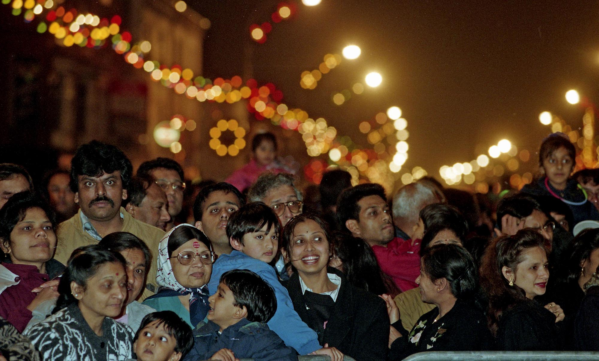 Crowds pack in to see the Diwali lights switch on celebrations in 1997 -